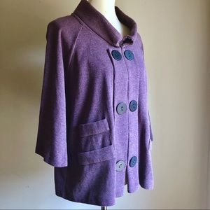 Funky Purple Ltwght Sweater size 1X Chalet Buttons